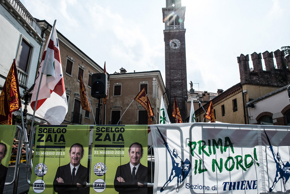 Salvini a Zaia a Thiene per la conclusione della campagna elettorale